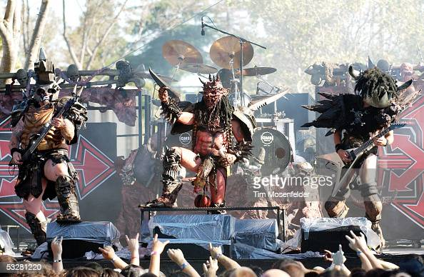 Oderus Urungus and Gwar perform as part of the Sounds of the Underground tour at Shoreline Amphitheatre July 23 2005 in Mountain View California