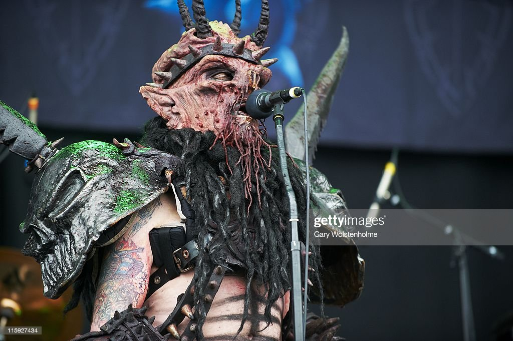Oderus Urungus of Gwar performs on stage during the third and final day of Download Festival at Donnington Park on June 12 2011 in Donnington United...