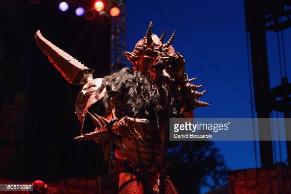 Oderus Urungus of Gwar performs on stage on Day 1 of Riot Fest and Carnival 2013 at Humboldt Park on September 13 2013 in Chicago Illinois