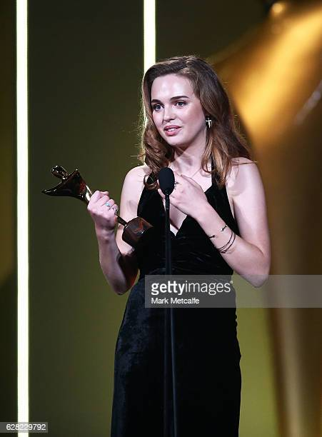 Odessa Young poses in the media room after winning the AACTA Award for Best Lead Actress for The Daughter during the 6th AACTA Awards Presented by...