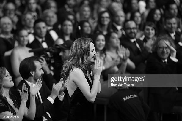 Odessa Young reacts after being announced the winner of the AACTA Award for Best Lead Actress for The Daughter during the 6th AACTA Awards Presented...