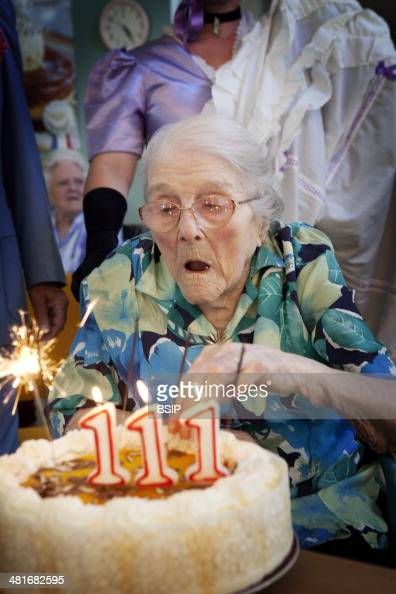 Odette Ambulher was born on the 17th September 1901 She is celebrating her 111th birthday in the retirement home in LaigneenBelin Sarthe in France...