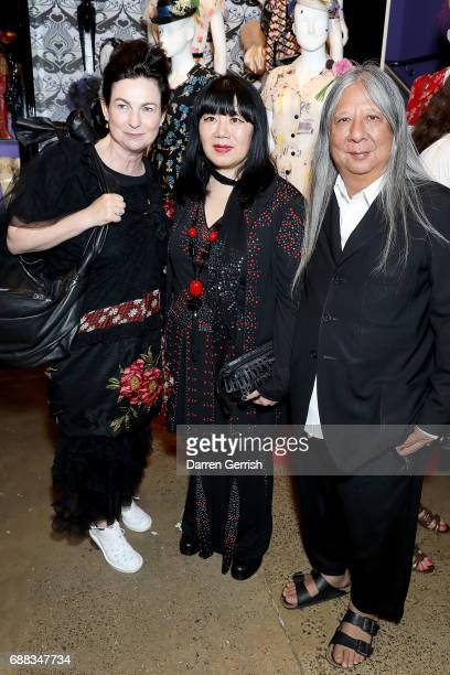 Odette Gleeson Anna Sui and John Rocha attend the World of Anna Sui Exhibition Private View at the Fashion and Textile Museum on May 25 2017 in...