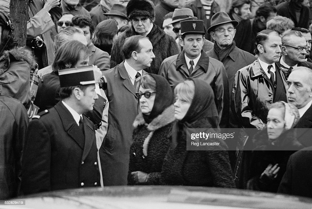 Odette Meslier attends the funeral of Maurice Chevalier 5th January 1972