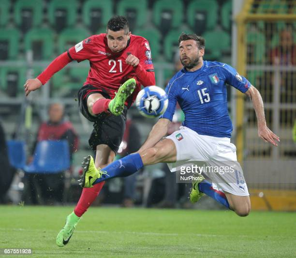 Odies Roshi of Albania of Leonardo Bonucci of Italy during the match to qualify for the Football World Cup 2018 between Italia v Albania in Palermo...