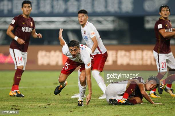 Odil Ahmedov of Shanghai SIPG follows the ball during the 21st round match of 2017 China Super League between Hebei China Fortune FC and Shanghai...