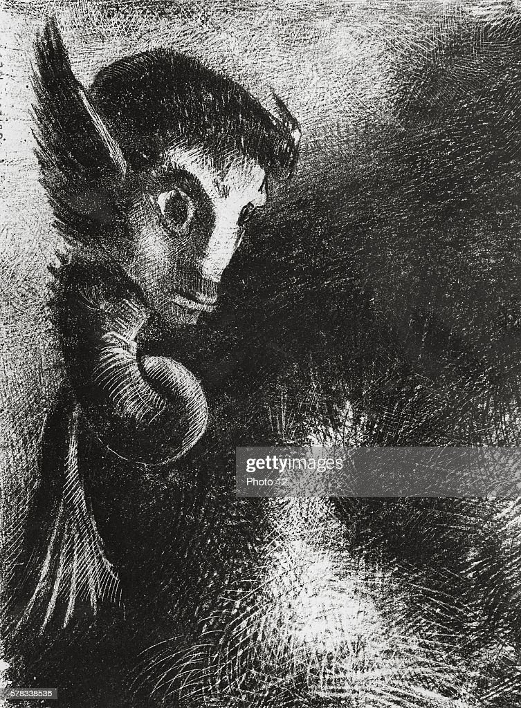 Odilon Redon French school The Night 1949 Lithograph and chine colle Cambridge The Fitzwilliam Museum