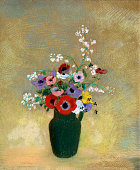 Odilon Redon Large Green Vase with Mixed Flowers 191012 pastel on paper 743 x 622 cm Museum of Fine Arts Boston