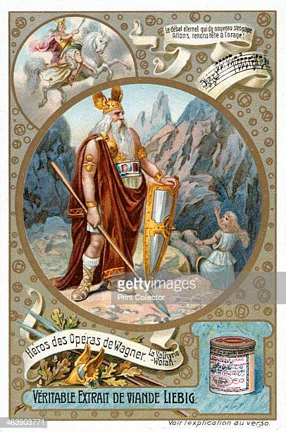 Odin 18901910 Scene from Richard Wagner's opera The Valkyrie showing Odin the king of the gods Card published by the Liebig potted meat company