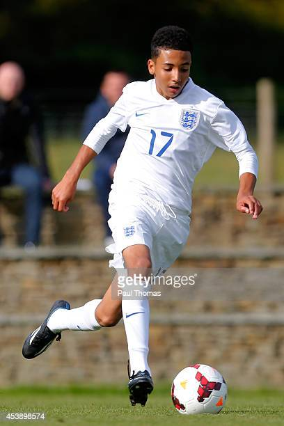 Odin Bailey of England U16's in action during the International U16 fixture between England and Belgium at St George's Park on August 20 2014 in...