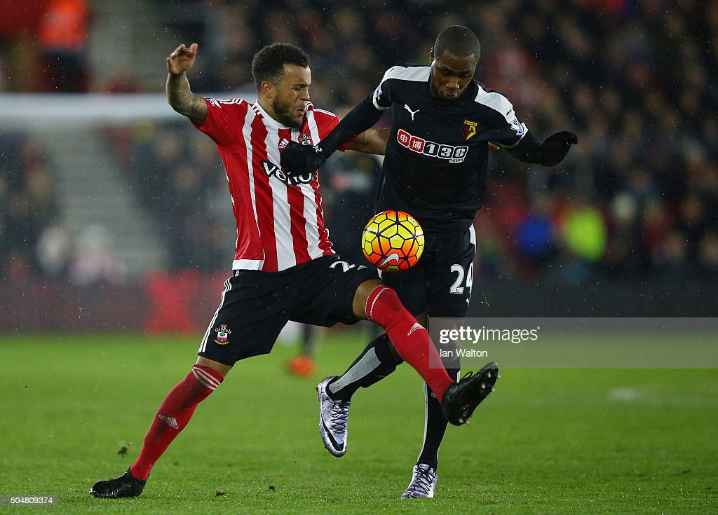 Odion Ighalo of Watford and Ryan Bertrand of Southampton compete for the ball during the Barclays Premier League match between Southampton and Watford at St. Mary's Stadium on January 13, 2016 in Southampton, England.