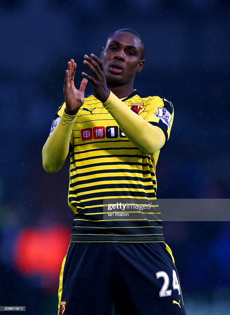 <a gi-track='captionPersonalityLinkClicked' href=/galleries/search?phrase=Odion+Ighalo&family=editorial&specificpeople=6338404 ng-click='$event.stopPropagation()'>Odion Ighalo</a> of Watford applauds away supporters after his team's 2-1 win in the Barclays Premier League match between Crystal Palace and Watford at Selhurst Park on February 13, 2016 in London, England.