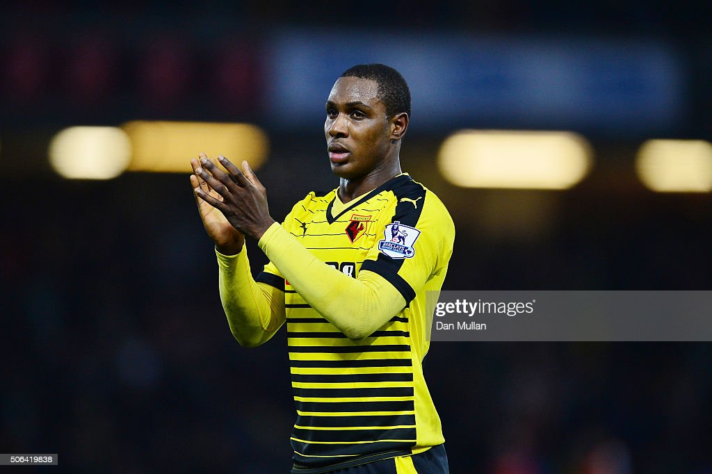 Odion Ighalo of Watford applauds the supporters after the Barclays Premier League match between Watford and Newcastle United at Vicarage Road on...