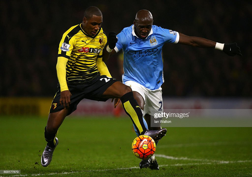 <a gi-track='captionPersonalityLinkClicked' href=/galleries/search?phrase=Odion+Ighalo&family=editorial&specificpeople=6338404 ng-click='$event.stopPropagation()'>Odion Ighalo</a> of Watford (L) battles for the ball with <a gi-track='captionPersonalityLinkClicked' href=/galleries/search?phrase=Eliaquim+Mangala&family=editorial&specificpeople=5713850 ng-click='$event.stopPropagation()'>Eliaquim Mangala</a> of Manchester City during the Barclays Premier League match between Watford and Manchester City at Vicarage Road on January 2, 2016 in Watford, England.