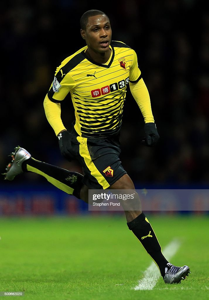 Odion Ighalo of Watford celebrates after scoring his sides second goal during the Premier League match between Watford and Norwich City at Vicarage...