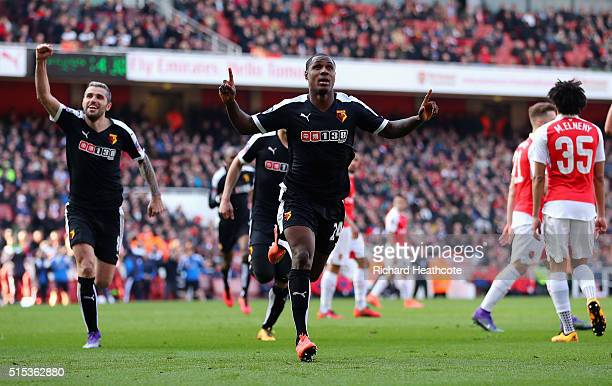 Odion Ighalo of Watford celebrates as he scores their first goal during the Emirates FA Cup sixth round match between Arsenal and Watford at Emirates...