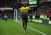Odion Ighalo of Watford celebrates as he scores their second goal during the Barclays Premier League match between Watford and Liverpool at Vicarage...