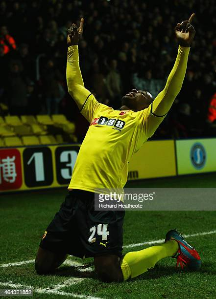 Odion Ighalo of Watford celebrates as he scores their third goal during the Sky Bet Championship match between Watford and Rotherham United at...