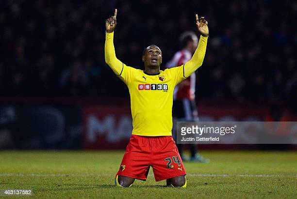 Odion Ighalo of Watford celebrates at the final whistle after the Sky Bet Championship match between Brentford and Watford at Griffin Park on...