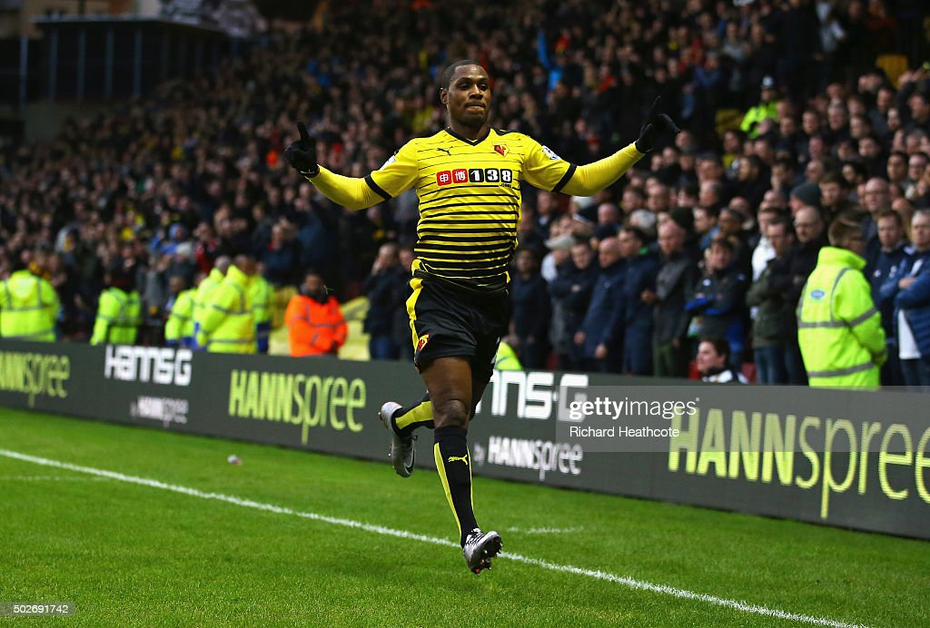 Odion Ighalo of Watford celebrates scoring his team's first goal during the Barclays Premier League match between Watford and Tottenham Hotspur at...