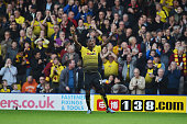 Odion Ighalo of Watford celebrates scoring his team's second goal during the Barclays Premier League match between Watford and West Ham United at...