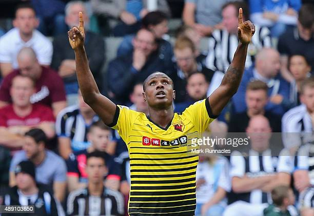 Odion Ighalo of Watford celebrates scoring his team's second goalduring the Barclays Premier League match between Newcastle United and Watford at St...
