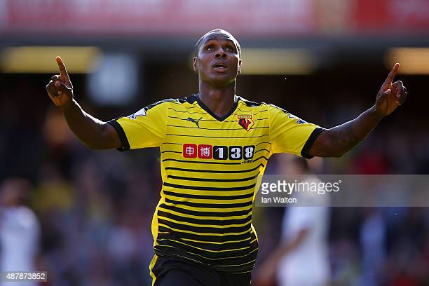 Odion Ighalo of Watford celebrates scoring the opening goal during the Barclays Premier League match between Watford and Swansea City at Vicarage...