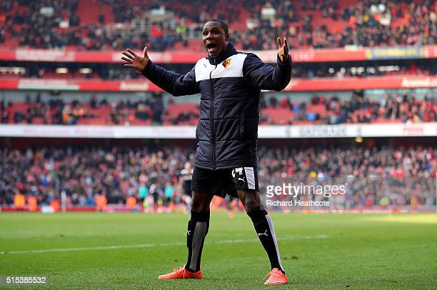 Odion Ighalo of Watford celebrates victory after the Emirates FA Cup sixth round match between Arsenal and Watford at Emirates Stadium on March 13...