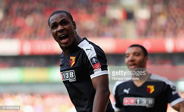 Odion Ighalo of Watford celebrates with team mate Troy Deeney as he scores their first goal during the Emirates FA Cup sixth round match between...