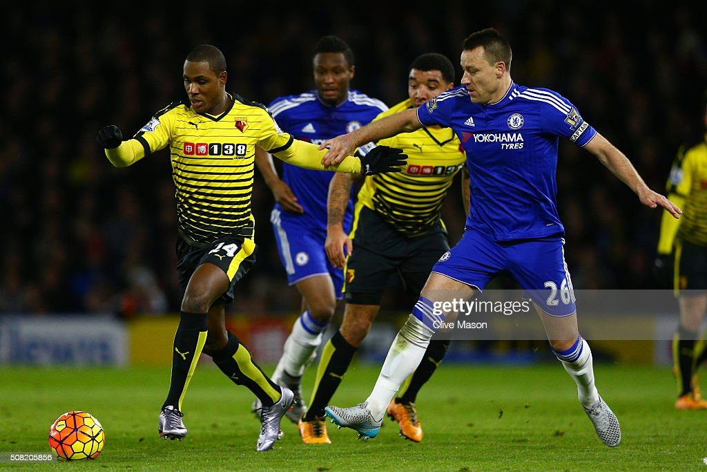 Odion Ighalo of Watford goes past John Terry of Chelsea during the Barclays Premier League match between Watford and Chelsea at Vicarage Road on February 3, 2016 in Watford, England.