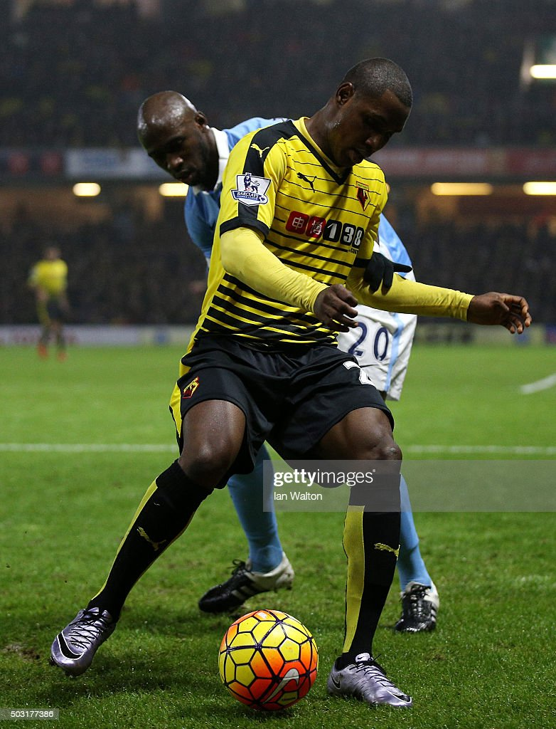 <a gi-track='captionPersonalityLinkClicked' href=/galleries/search?phrase=Odion+Ighalo&family=editorial&specificpeople=6338404 ng-click='$event.stopPropagation()'>Odion Ighalo</a> of Watford holds off <a gi-track='captionPersonalityLinkClicked' href=/galleries/search?phrase=Eliaquim+Mangala&family=editorial&specificpeople=5713850 ng-click='$event.stopPropagation()'>Eliaquim Mangala</a> of Manchester City during the Barclays Premier League match between Watford and Manchester City at Vicarage Road on January 2, 2016 in Watford, England.