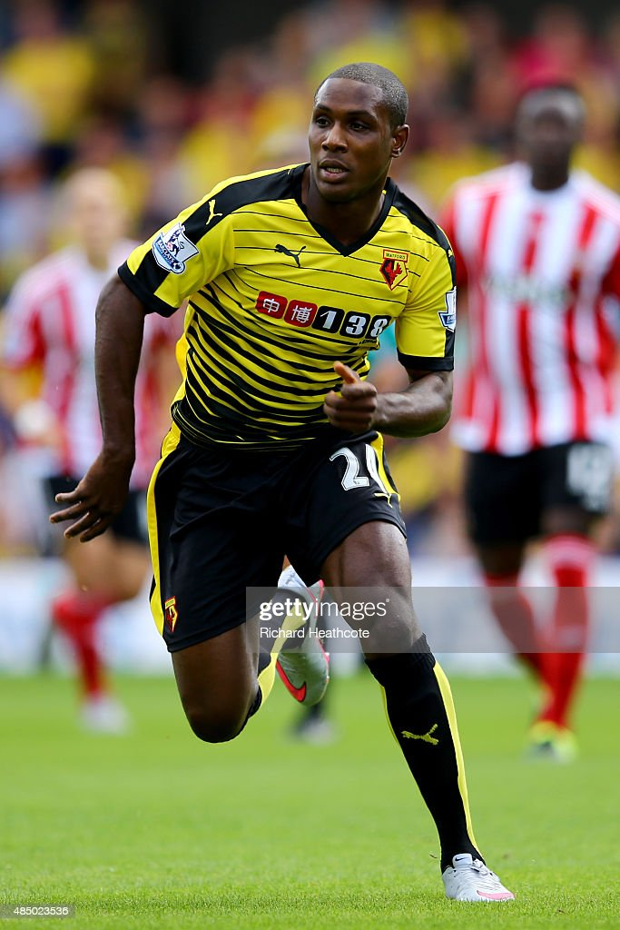 Odion Ighalo of Watford in action during the Barclays Premier League match between Watford and Southampton at Vicarage Road on August 23 2015 in...