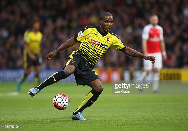 Odion Ighalo of Watford in action during the Barclays Premier League match between Watford and Arsenal at Vicarage Road on October 17 2015 in Watford...