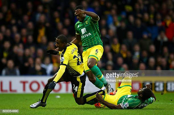 Odion Ighalo of Watford is brought down by Alexander Tettey of Norwich City resulting in a penalty kick during the Barclays Premier League match...