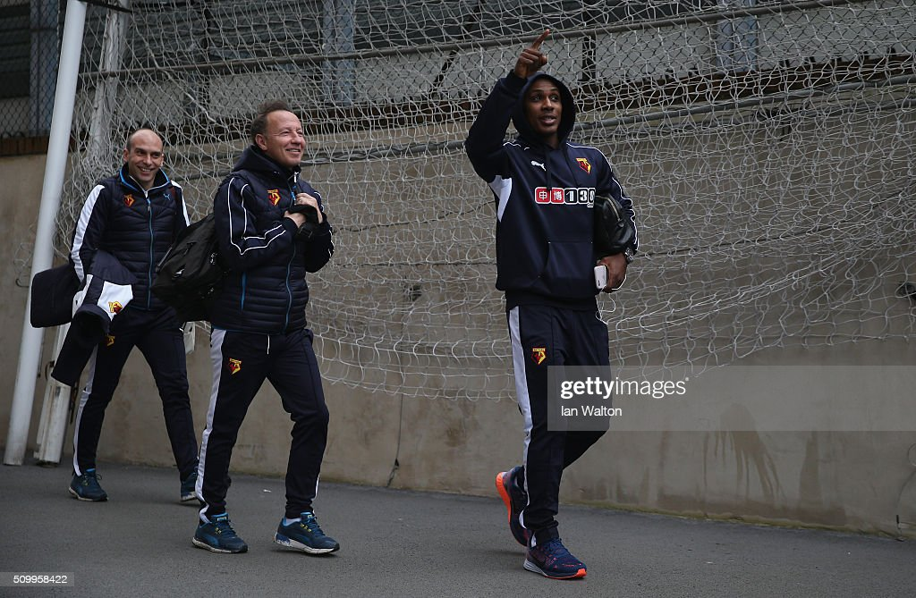 <a gi-track='captionPersonalityLinkClicked' href=/galleries/search?phrase=Odion+Ighalo&family=editorial&specificpeople=6338404 ng-click='$event.stopPropagation()'>Odion Ighalo</a> of Watford is seen on arrival at the stadium prior to the Barclays Premier League match between Crystal Palace and Watford at Selhurst Park on February 13, 2016 in London, England.