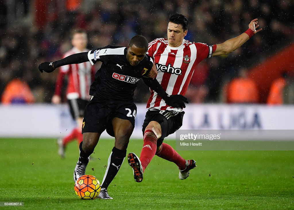 <a gi-track='captionPersonalityLinkClicked' href=/galleries/search?phrase=Odion+Ighalo&family=editorial&specificpeople=6338404 ng-click='$event.stopPropagation()'>Odion Ighalo</a> of Watford is tackled by Jose Fonte of Southampton during the Barclays Premier League match between Southampton and Watford at St. Mary's Stadium on January 13, 2016 in Southampton, England.