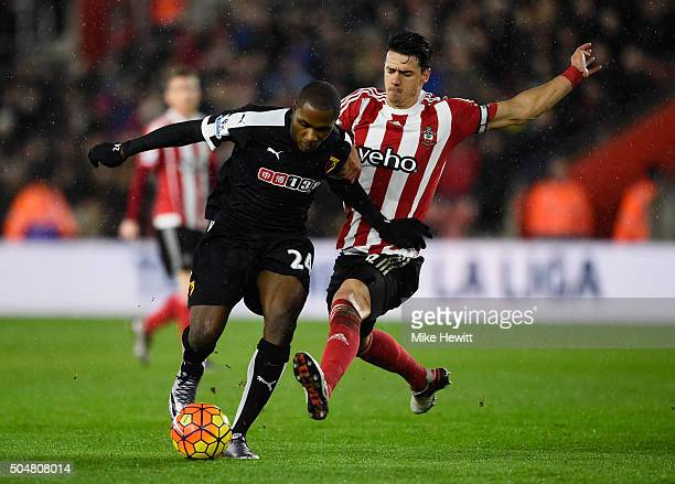 Odion Ighalo of Watford is tackled by Jose Fonte of Southampton during the Barclays Premier League match between Southampton and Watford at St Mary's...
