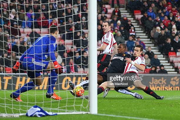 Odion Ighalo of Watford scores his team's first goal during the Barclays Premier League match between Sunderland and Watford at the Stadium of Light...