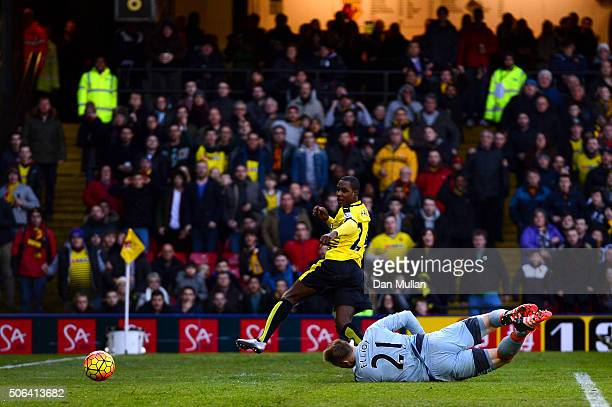 Odion Ighalo of Watford scores his team's first goal past Robert Elliot of Newcastle United during the Barclays Premier League match between Watford...
