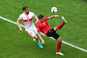 Odise Roshi of Albania controls the ball during the UEFA EURO 2016 Group A match between Albania and Switzerland at Stade BollaertDelelis on June 11...
