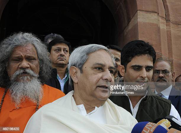 Odisha Chief Minister and Biju Janata Dal chief Naveen Patnaik at Parliament House during the Parliament winter session on December 9 2014 in New...