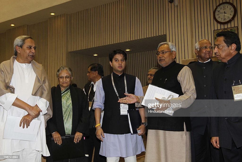 Odisha Chief Minister Naveen Patnaik, Delhi CM Sheila Dikshit, Union minister of state independent for Power Jyotiraditya Scindia and Bihar CM Nitish Kumar, and union minister Kamal Nath and Sharad Pawar at the 57th National Development Council (NDC) meeting at Vigyan Bhawan on December 27, 2012 in New Delhi, India.