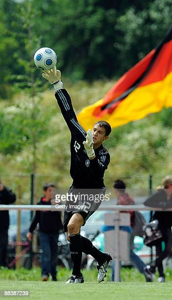 Odissaes Vlachodimos of Germany U15 during the U15 match between Germany and Poland at the Sportzentrum Niedergruendauer Street Stadium on June 10...