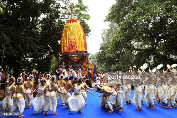 Odissi dancer perform on the last day of the week long Rathyatra celebration of Lode Jagannath's Rath Yatra on July 032107 in KolkataIndia