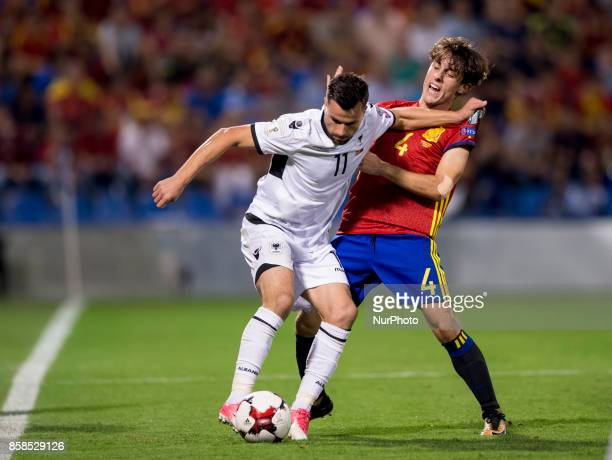 Odriozola and Azdren Llullaku during the qualifying match for the World Cup Russia 2018 between Spain and Albaniaat the Jose Rico Perez stadium in...