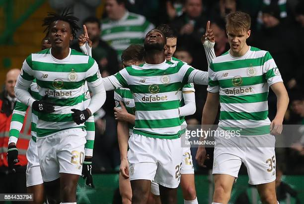 Odsonne Edouard of Celtic celebrates after he scores his second goal during the Ladbrokes Scottish Premiership match between Celtic and Motherwell at...