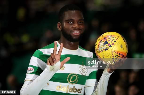 Odsonne Edouard of Celtic celebrates with the match ball after he scores a hattrick during the Ladbrokes Scottish Premiership match between Celtic...