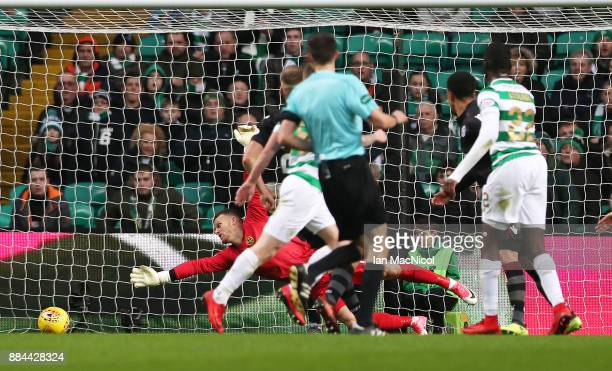 Odsonne Edouard of Celtic scores his second goal during the Ladbrokes Scottish Premiership match between Celtic and Motherwell at Celtic Park on...