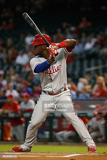 Odubel Herrera of the Philadelphia Phillies bats against the Arizona Diamondbacks during the MLB game at Chase Field on August 12 2015 in Phoenix...