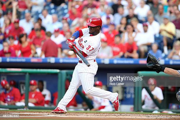 Odubel Herrera of the Philadelphia Phillies bats during the game against the Tampa Bay Rays at Citizens Bank Park on July 21 2015 in Philadelphia PA...